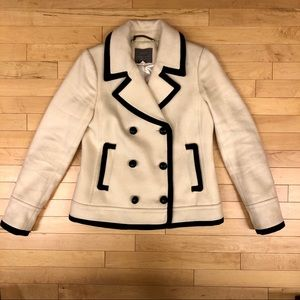 Jcrew Wool Contrast Trim Peacoat